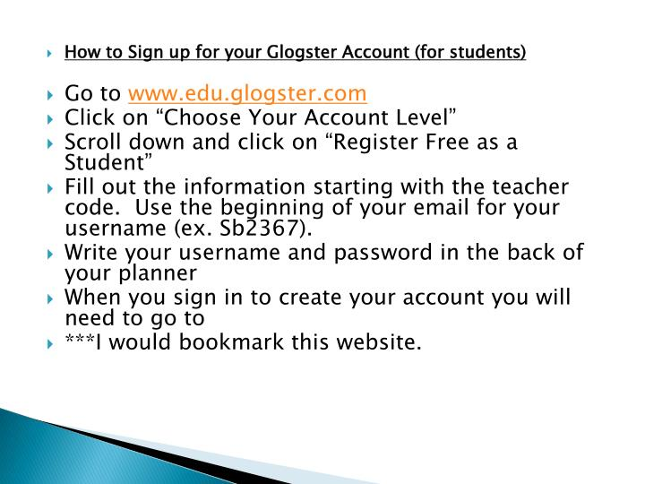 How to Sign up for your Glogster Account (for students