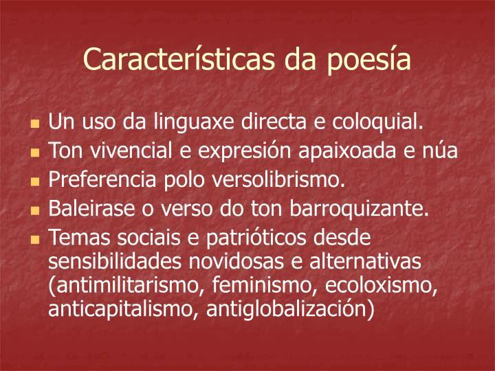Características da poesía