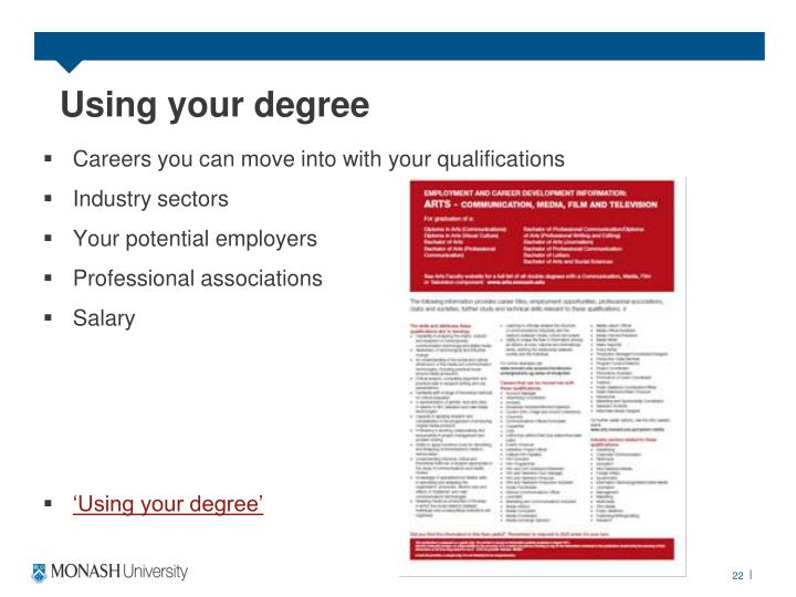 Using your degree