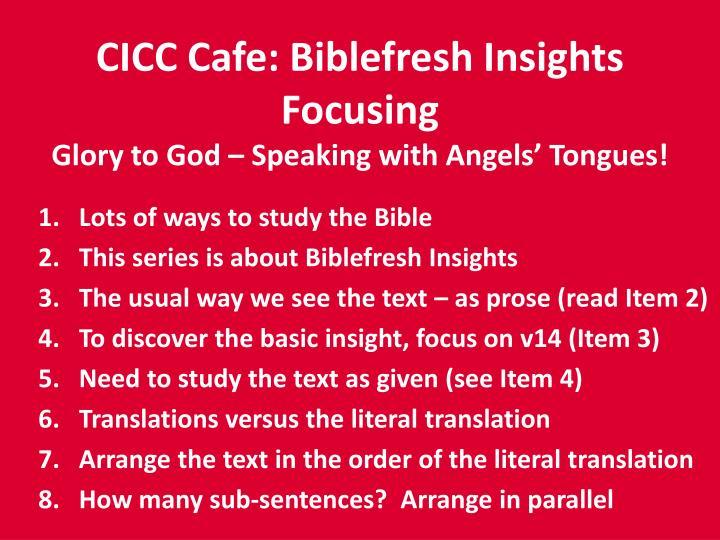 CICC Cafe: Biblefresh Insights