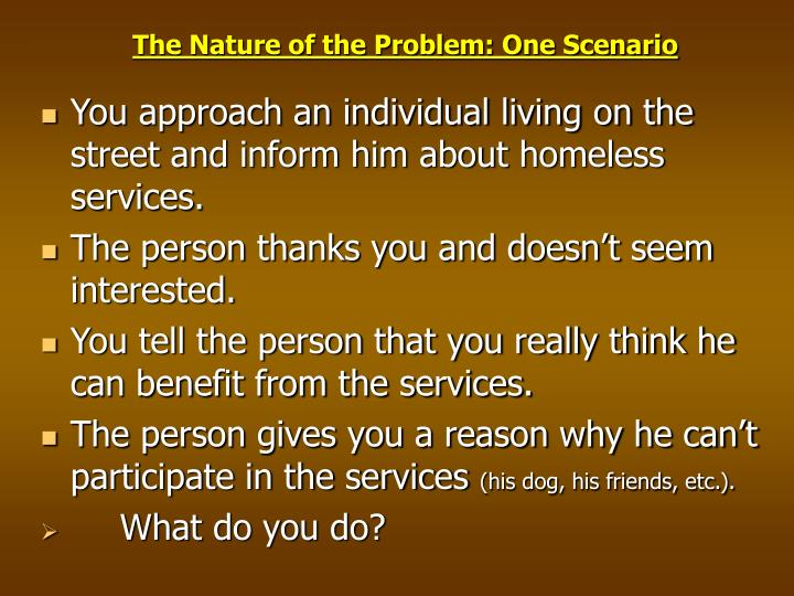 The Nature of the Problem: One Scenario