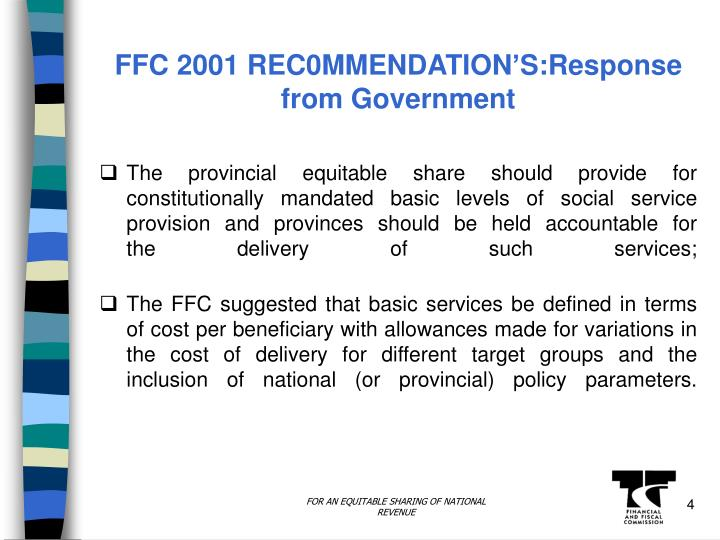 FFC 2001 REC0MMENDATION'S:Response from Government