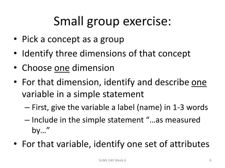 Small group exercise: