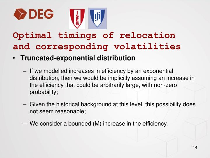 Optimal timings of relocation and corresponding volatilities