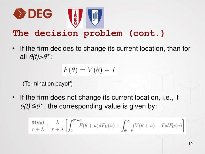 The decision problem (cont.)