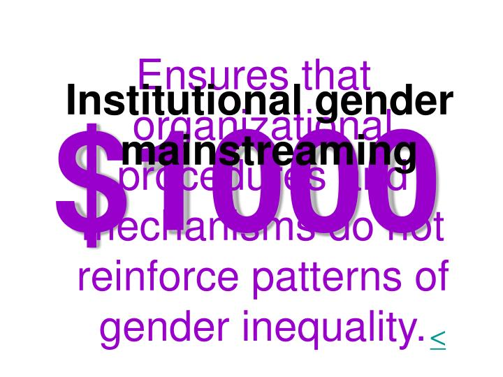Ensures that organizational procedures and mechanisms do not reinforce patterns of gender inequality.