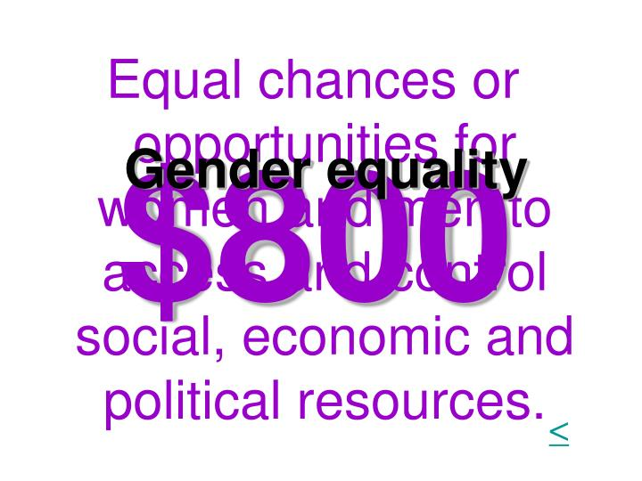 Equal chances or opportunities for women and men