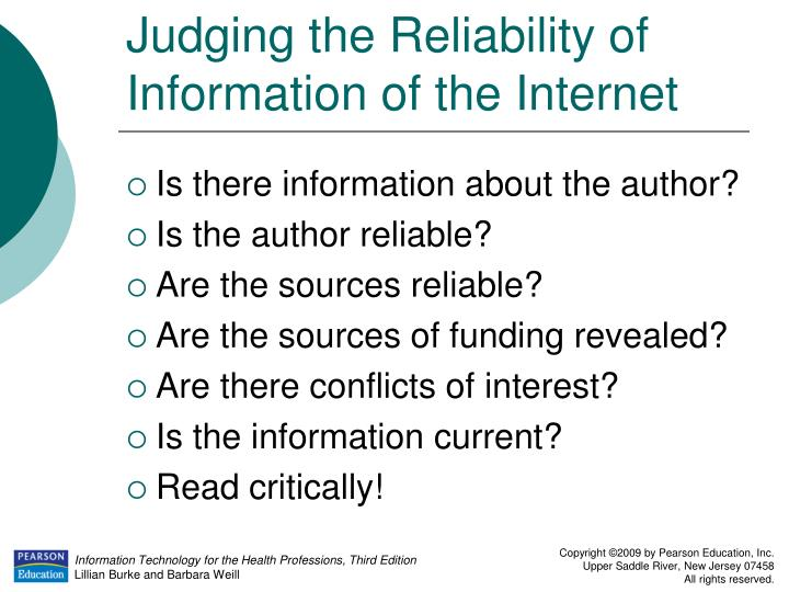 Judging the Reliability of Information of the Internet