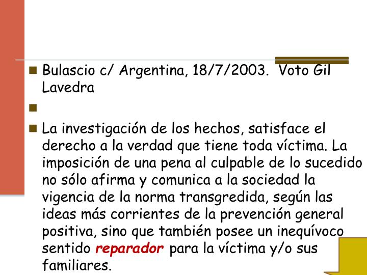 Bulascio c/ Argentina, 18/7/2003.  Voto Gil Lavedra