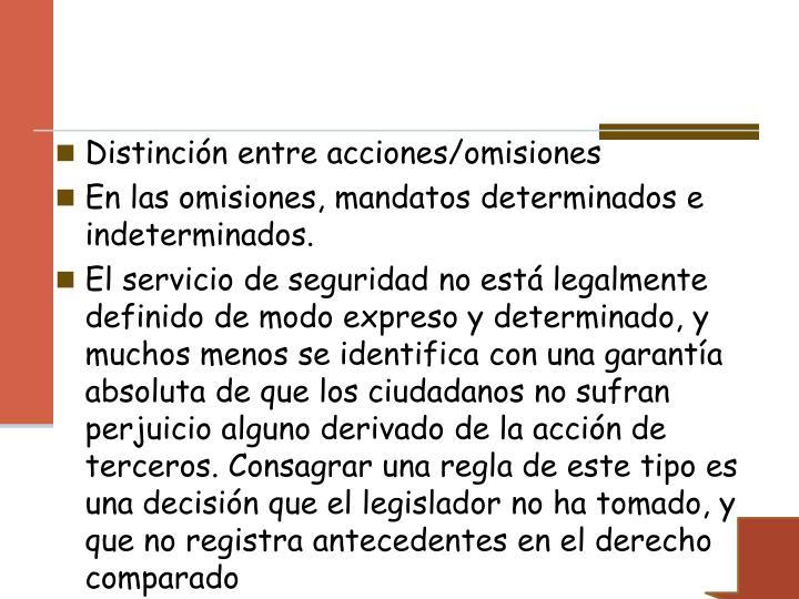 Distinción entre acciones/omisiones