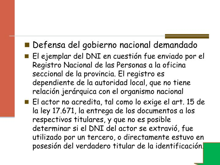 Defensa del gobierno nacional demandado