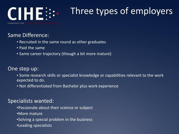 Three types of employers