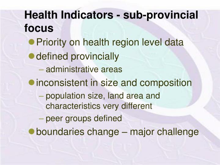 Health Indicators - sub-provincial focus