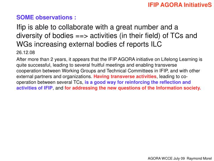 IFIP AGORA InitiativeS