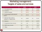 marketing management targets of sales and services