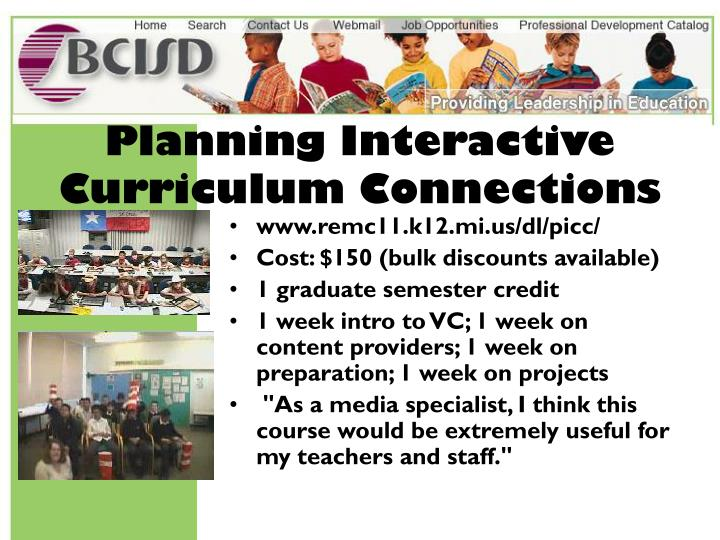 Planning Interactive Curriculum Connections