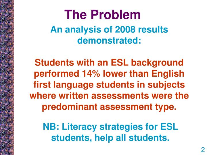 situational analysis of esl student Text: analyzing the text is very much like doing literary analysis, which many students have done before use all of your tools of literary analysis, including looking at the metaphors, rhythm of sentences, construction of arguments, tone, style, and use of language.