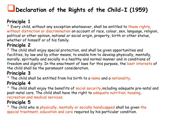 Declaration of the Rights of the Child-I (1959)
