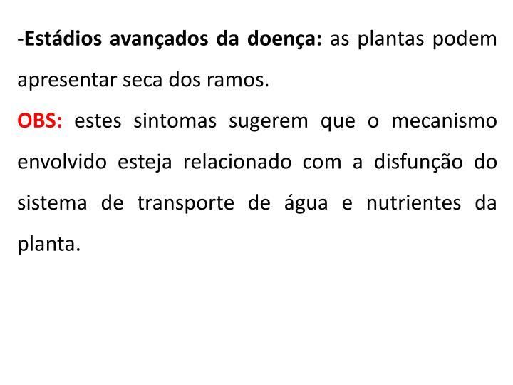 Estádios avançados da doença: