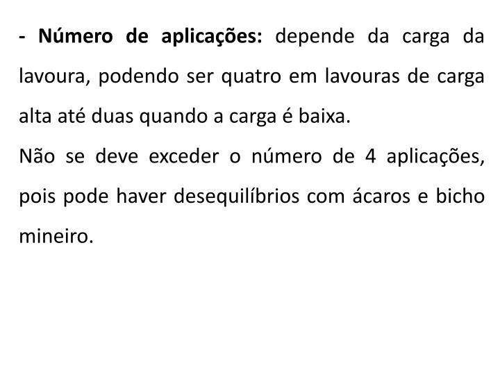 - Número de aplicações: