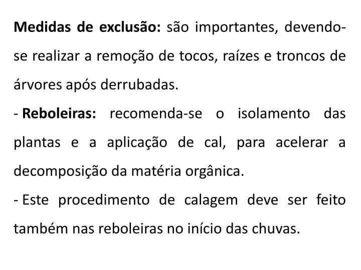 Medidas de exclusão: