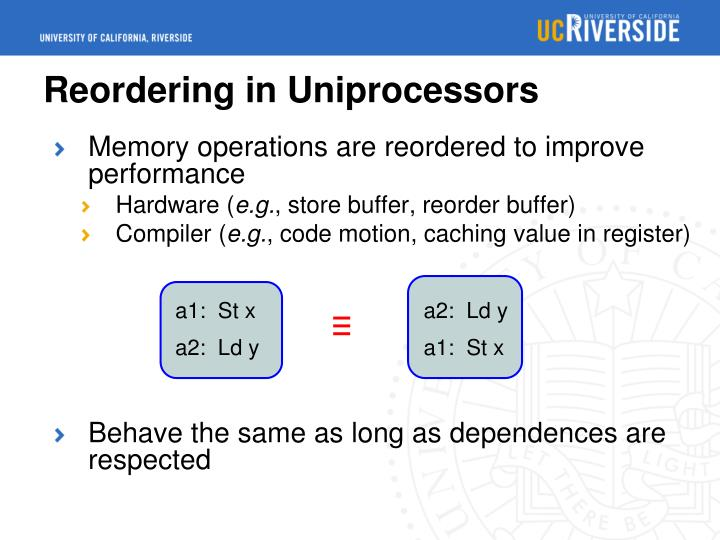 Reordering in uniprocessors