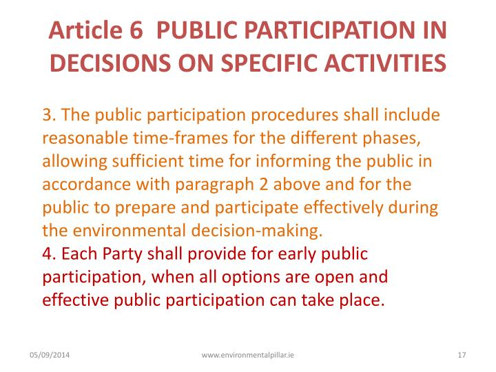 Article 6  PUBLIC PARTICIPATION IN DECISIONS ON SPECIFIC ACTIVITIES