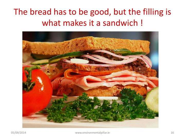 The bread has to be good, but the filling is what makes it a sandwich !