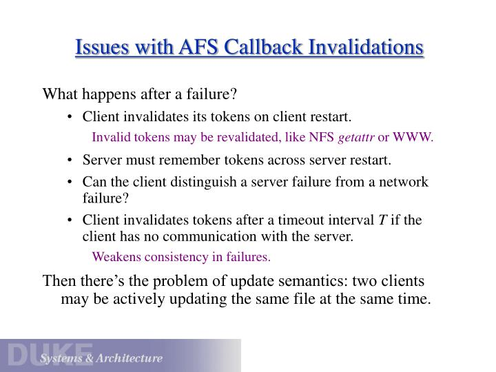 Issues with AFS Callback Invalidations