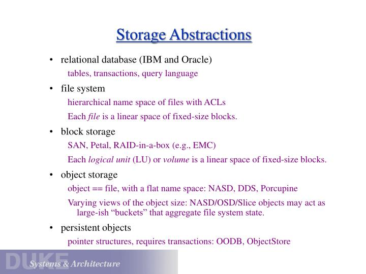 Storage Abstractions
