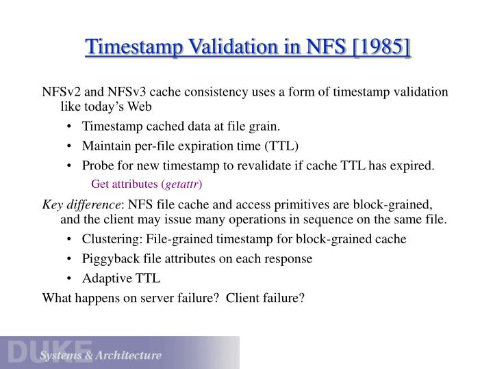 Timestamp Validation in NFS [1985]