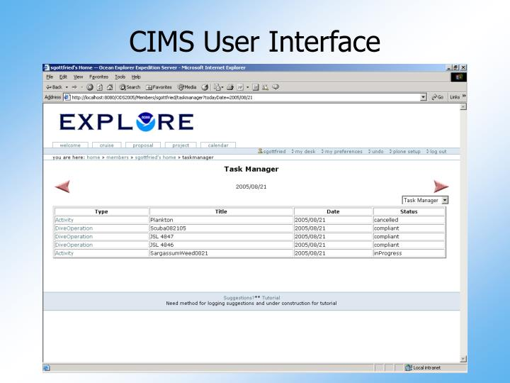 CIMS User Interface