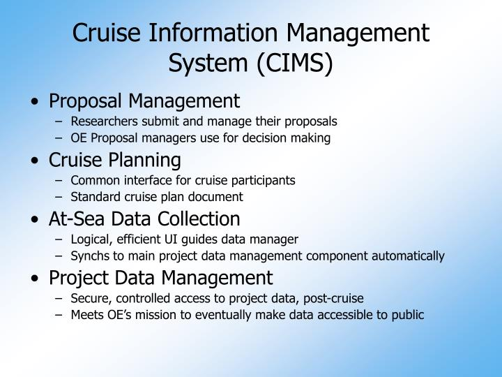Cruise Information Management System (CIMS)