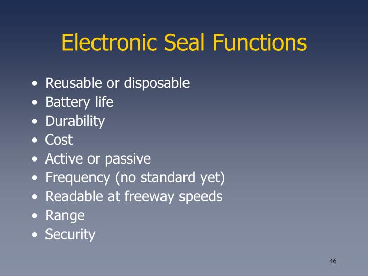 Electronic Seal Functions