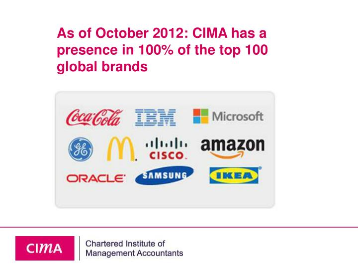Good News: CIMA has a presence in 100% of the top 100 global brands