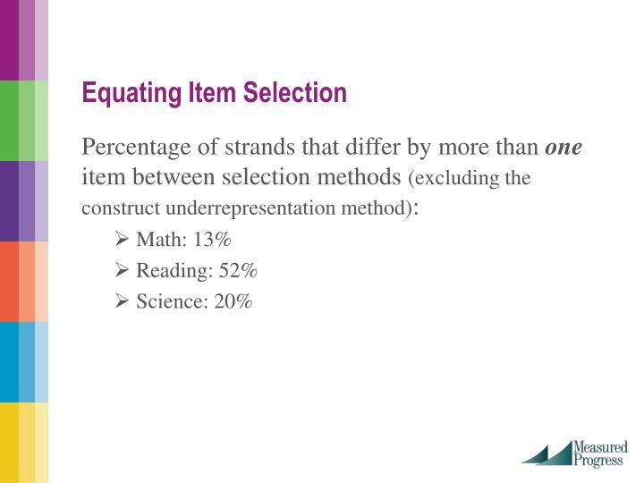 Equating Item Selection