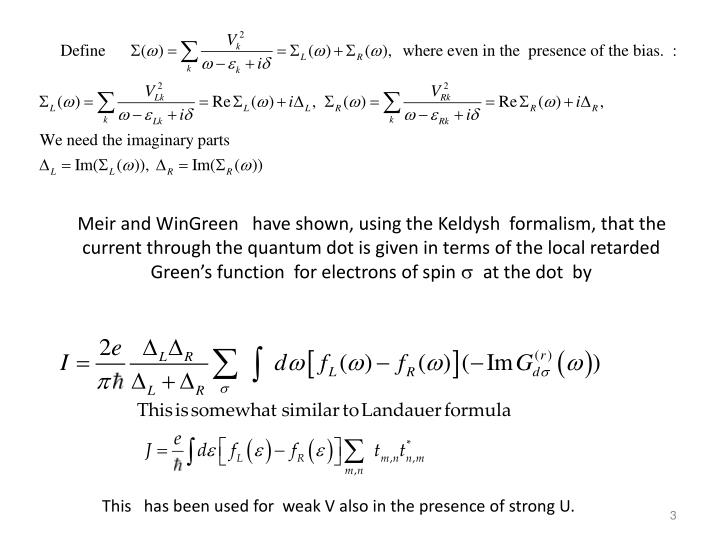 Meir and WinGreen   have shown, using the Keldysh  formalism, that the current through the quantum d...