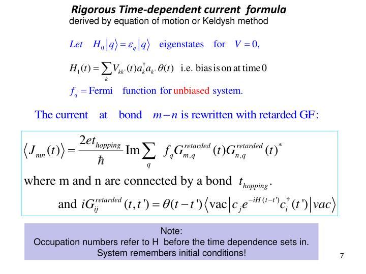Rigorous Time-dependent current  formula
