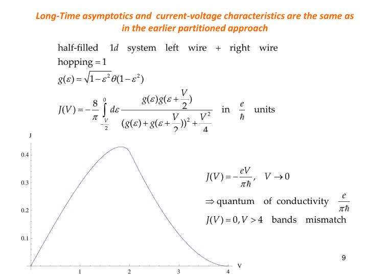 Long-Time asymptotics and  current-voltage characteristics are the same as in the earlier partitioned approach