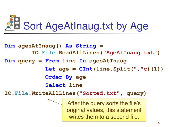 Sort AgeAtInaug.txt by Age