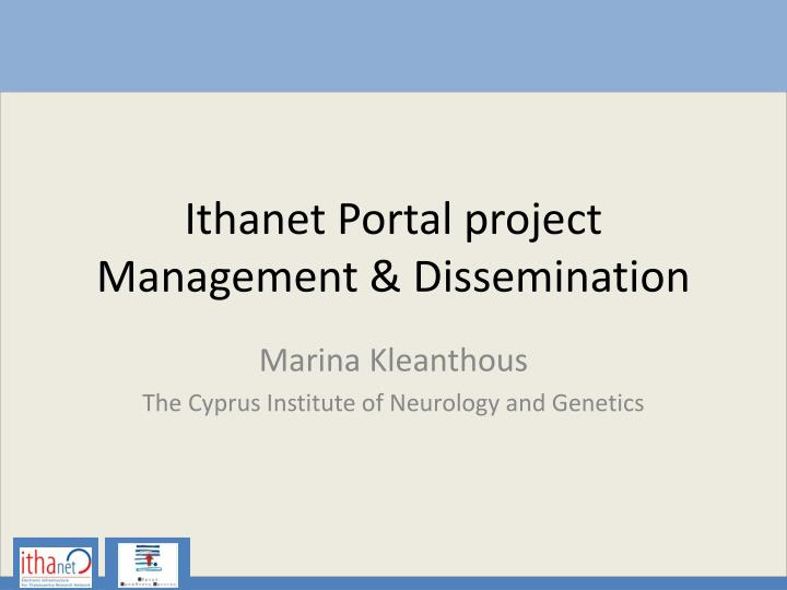ithanet portal project management dissemination n.