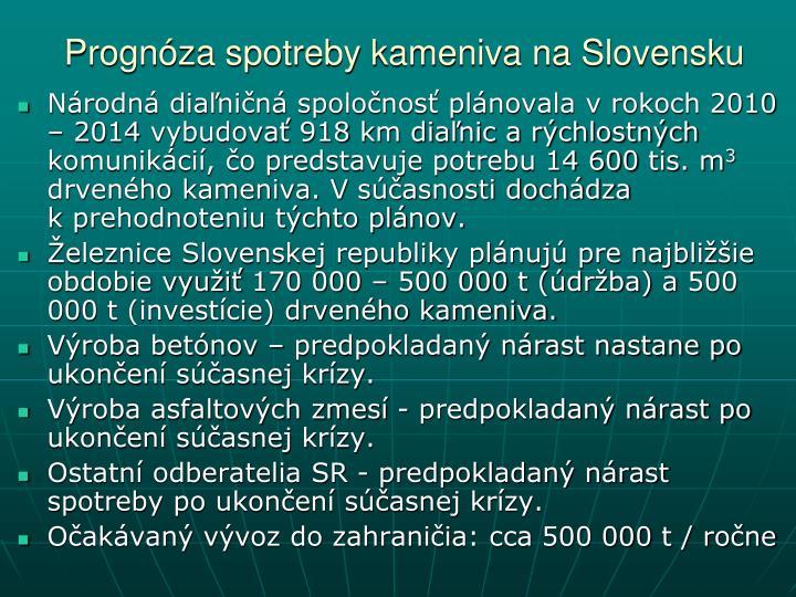 Prognóza spotreby kameniva na Slovensku