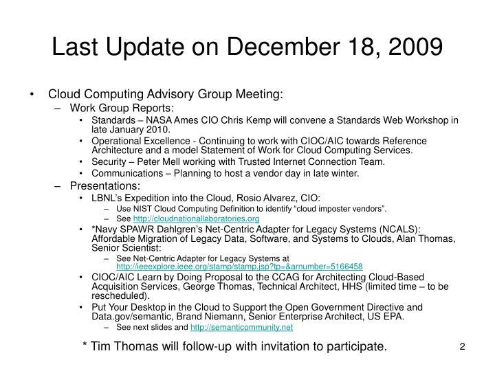 Last update on december 18 2009