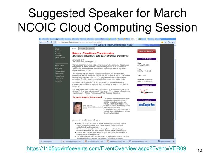 Suggested Speaker for March NCOIC Cloud Computing Session