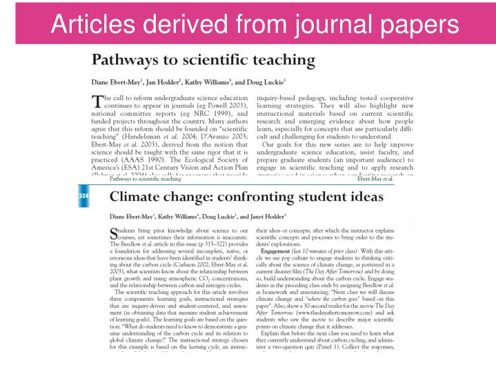 Articles derived from journal papers