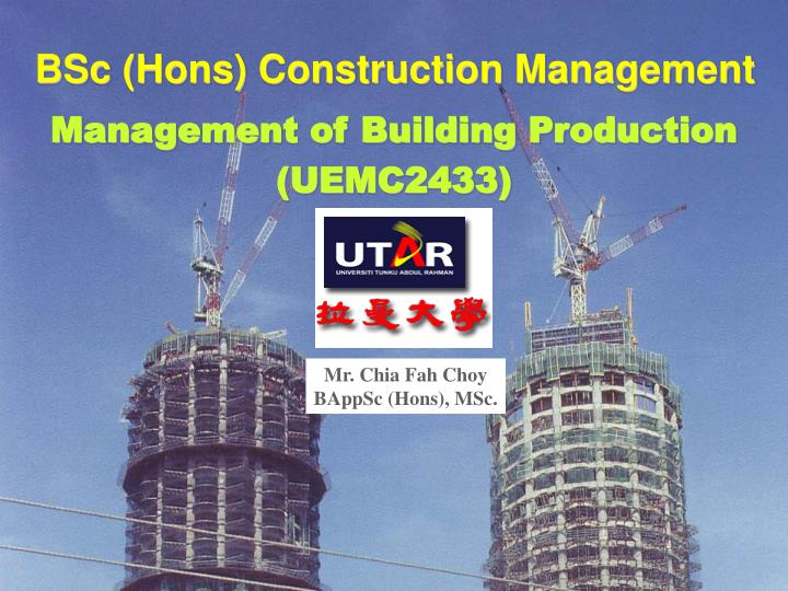 bsc hons construction management