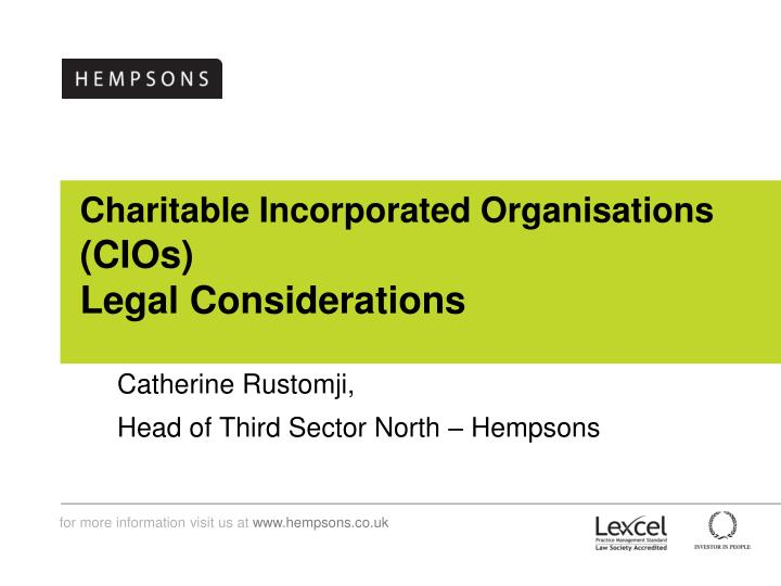 Charitable incorporated organisations cios legal considerations