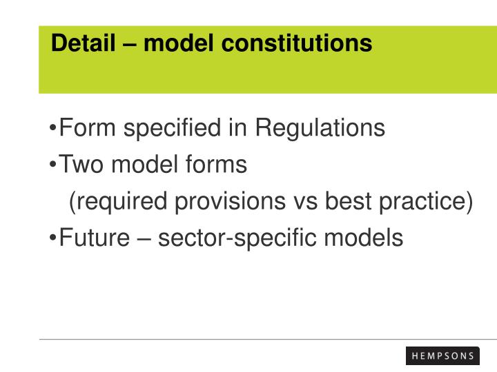 Detail – model constitutions