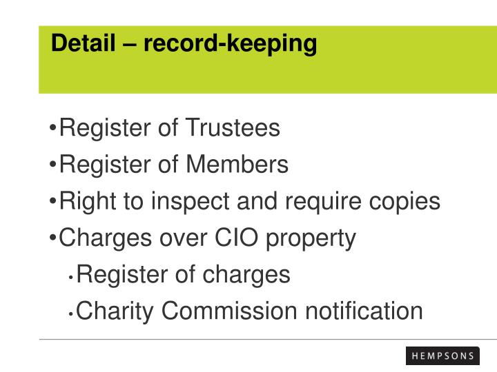 Detail – record-keeping