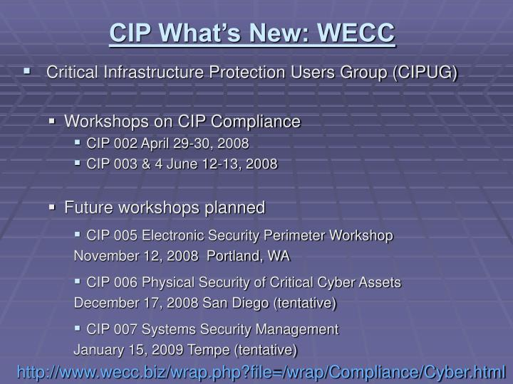CIP What's New: WECC